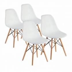 Combo eames 4 sillas patas madera blanco