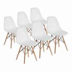 Combo eames 6 sillas patas madera blanco