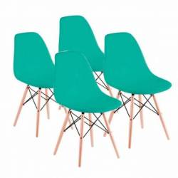 Combo eames 4 sillas patas madera verde