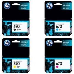 Combo Cartucho HP 670 Negro + HP 670 Cian + HP 670 Amarillo + HP 670 Magenta